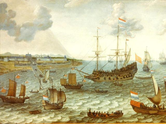 Asian and Dutch ships at anchor off Batavia