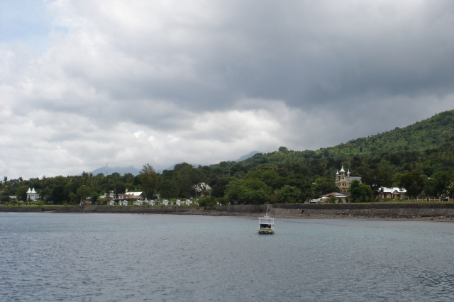 Churches along the waterfront in Larantuka
