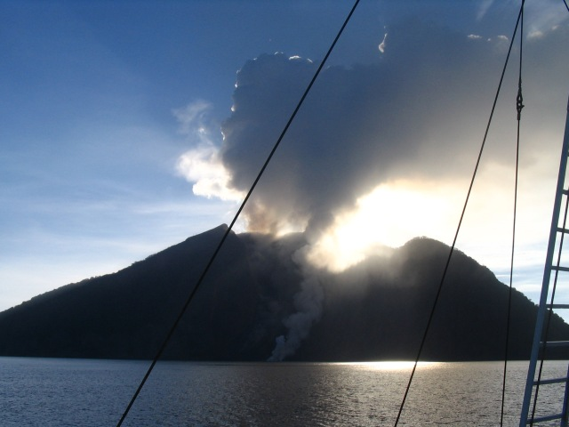 A volcano erupting in the Flores Sea
