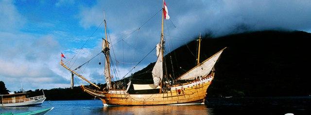 The replica Duyfken at Banda